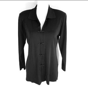 Misook petite black ribbed braided button jacket